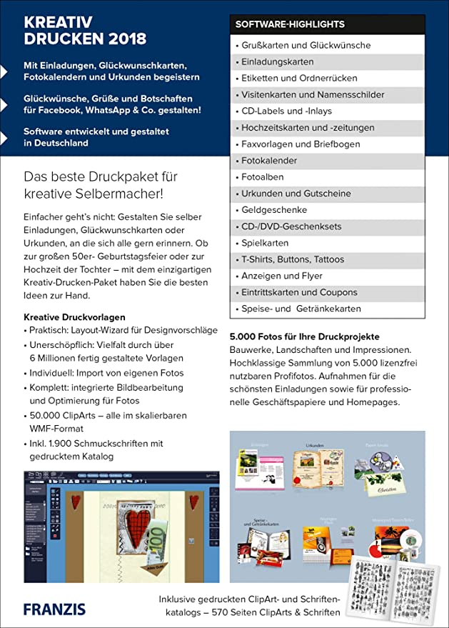FRANZIS Kreativ Drucken (2018) Software: MT 66: Amazon.de: Software