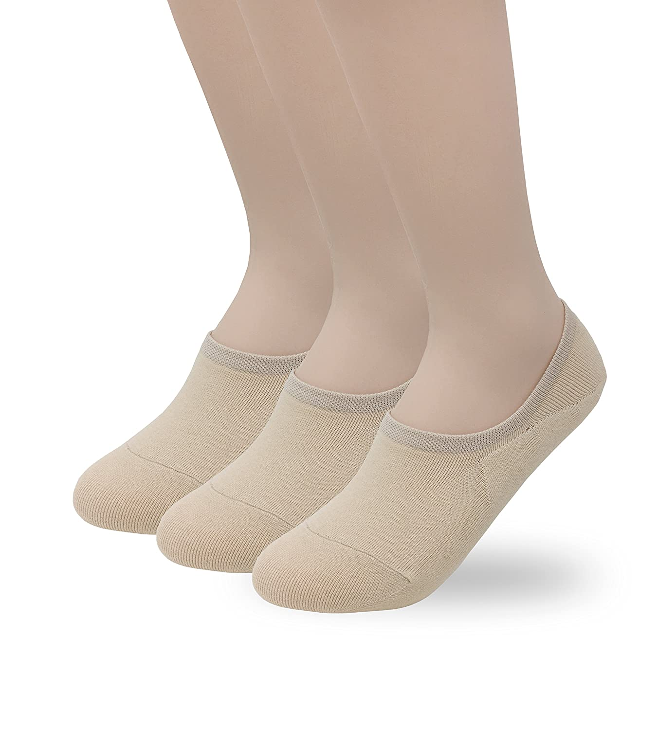 4c3b518c2cf36 Eedor Women's 3 Pairs Thin Casual Low Cut No Show Socks Non-Slip Hidden  Invisible Liner Beige S17 at Amazon Women's Clothing store: