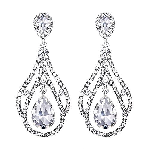 9cfeba374 BriLove Wedding Bridal Dangle Earrings for Women Crystal Peacock Feather  Shape Teardrop Chandelier Earrings Clear Silver