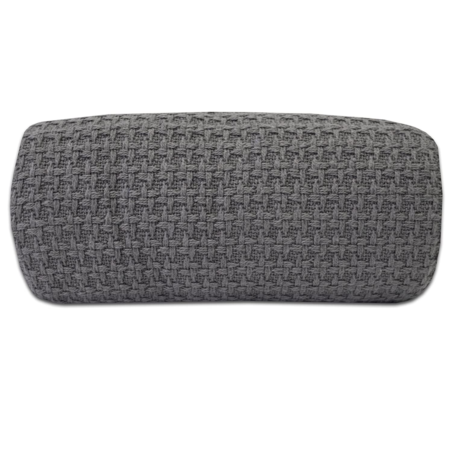 100% Fine Cotton Luxurious Basket Weave Blanket, Dark Gray