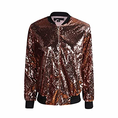 51f7c175 Image Unavailable. Image not available for. Color: Jimmetfrend Women Sequin  Coat Green Bomber Jacket ...