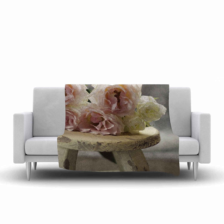 40 x 30 Kess InHouse Cristina Mitchell Roses on Stool Floral Photography Fleece Throw Blanket