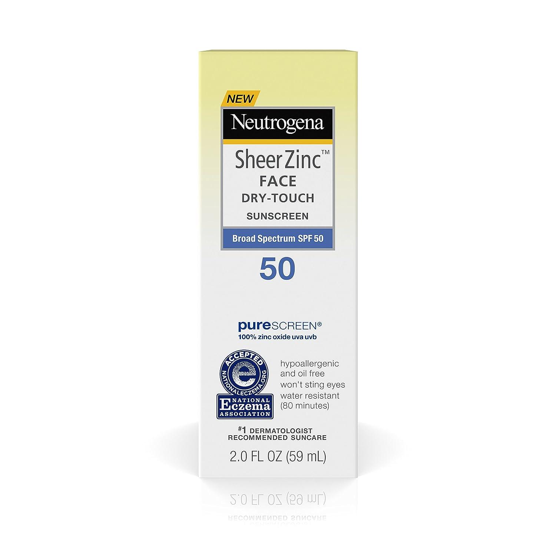 Neutrogena Sheer Zinc Dry-Touch SPF 50 Face Sunscreen, 2 Fluid Ounce (Pack of 3)