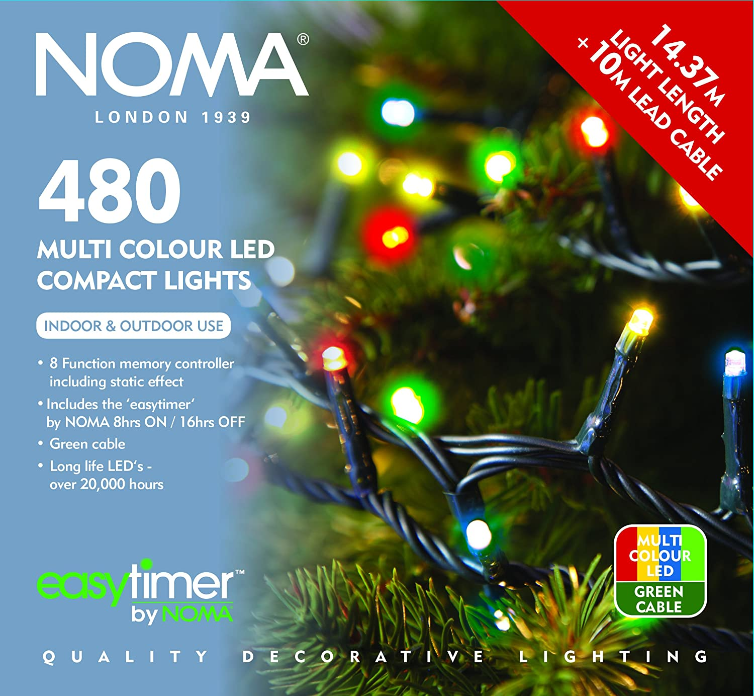 Noma Indoor / Outdoor Christmas Xmas 480 Multi-Action Compact Lights ...