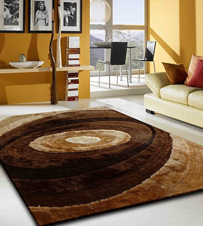 Amazon.com: RUGADDICTION Alfombra color cafe hecha a mano estilo unica moderno lujosa, 60