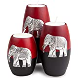 IYARA CRAFT 3 Wooden Candle Holders– Decorative Candle Holders with Inlaid Aluminium Antique Elephant – Intricate Details – M
