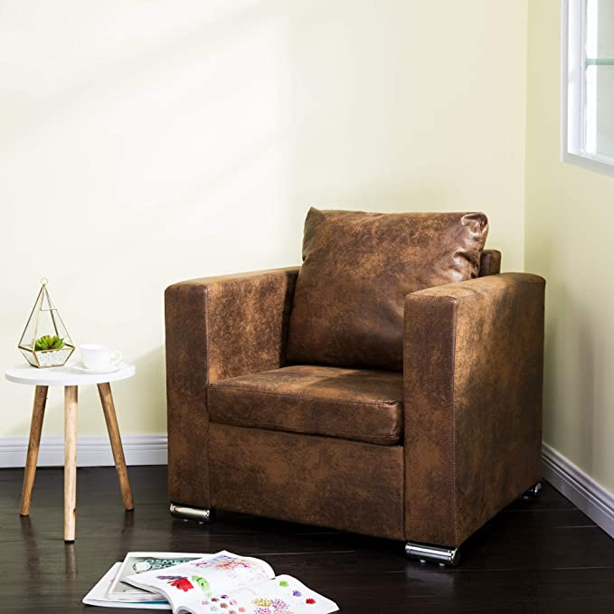 Miraculous Homevibes Accent Chair Pu Leather Reading Chair Upholstered Arm Chair Mid Century Modern Chair Comfy Single Sofa Comfortable Soft Leisure Sytlish Club Ibusinesslaw Wood Chair Design Ideas Ibusinesslaworg