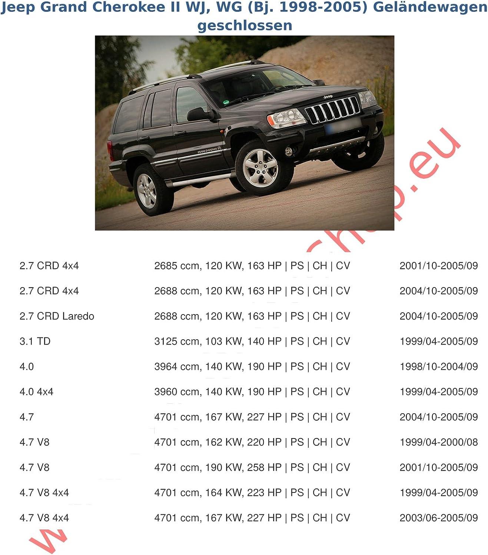 AHK Anh/ängerkupplung mit Elektrosatz 7 polig f/ür Jeep Grand Cherokee II 1999-2005 Anh/ängevorrichtung H/ängevorrichtung starr mit angeschraubtem Kugelkopf