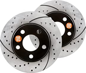 Front Kit Approved Performance J33482 Performance Drilled//Slotted Brake Rotors and Carbon Fiber Pads