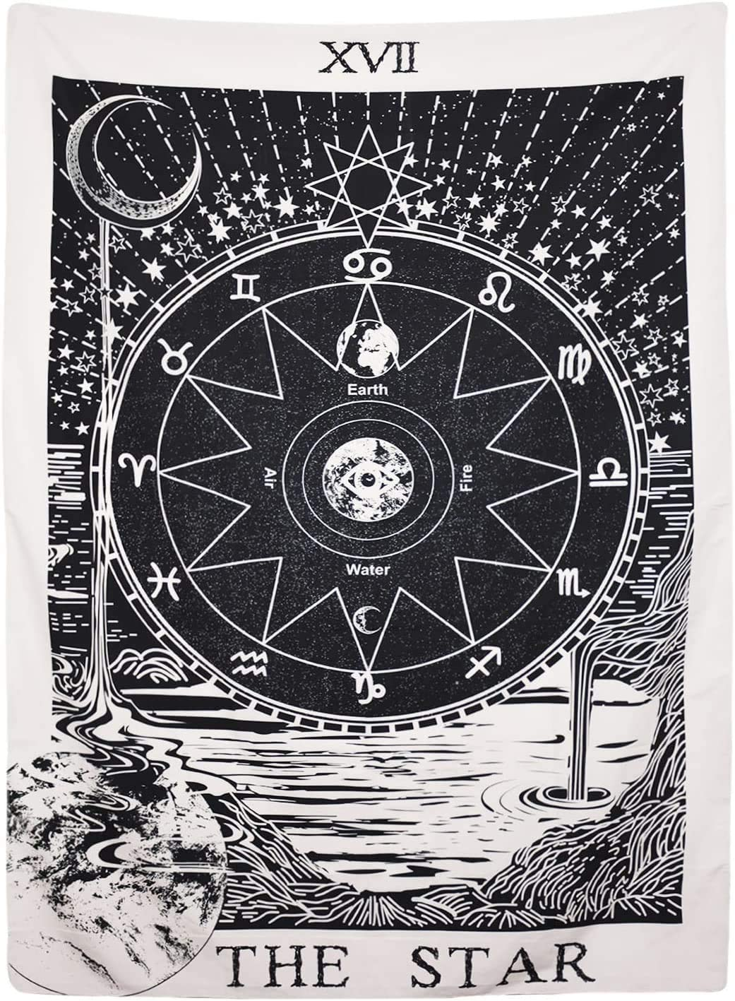 Black Star Tarot Tapestry, The Moon The Star The Sun Tapestry Wall Hanging Medieval Europe Divination White and Black Wall Decor Large
