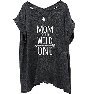 71872276 Amazon.com: Tstars - Mom of The Wild One Funny 1st Birthday V-Neck ...