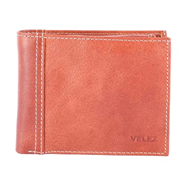 Velez Genuine Real Full Grain Men Leather Trifold Thin Slim Medium ID Card Wallet Billetera Carteras