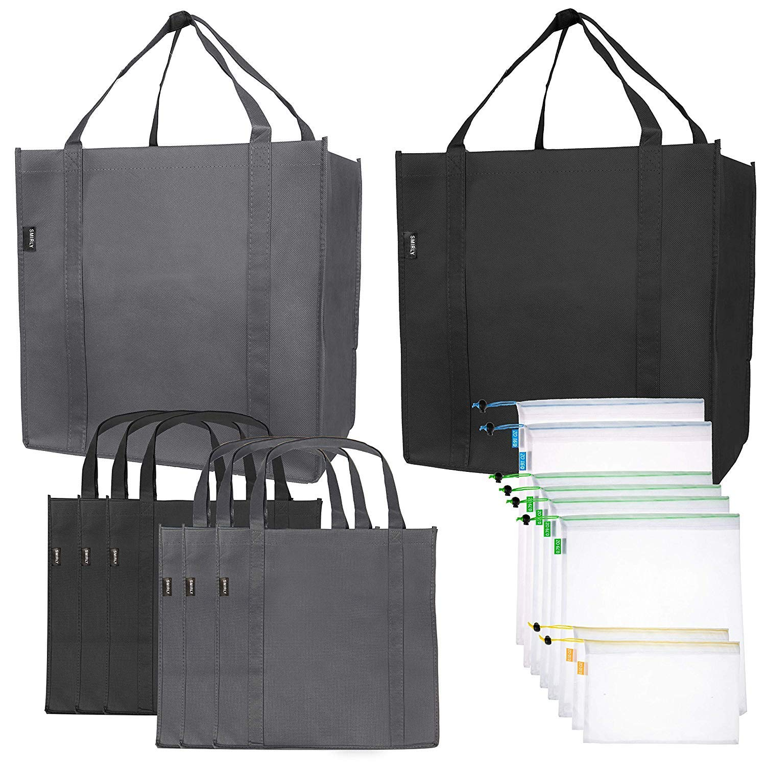 Reusable Folding Grocery and Produce Bags: 6 Large Fabric Totes with Handles and Inner Pocket and 9 Eco Friendly Breathable Mesh Produce Bags - Foldable Cloth Shopping Tote and Mesh Bag Set - 15 Pack by SMIRLY