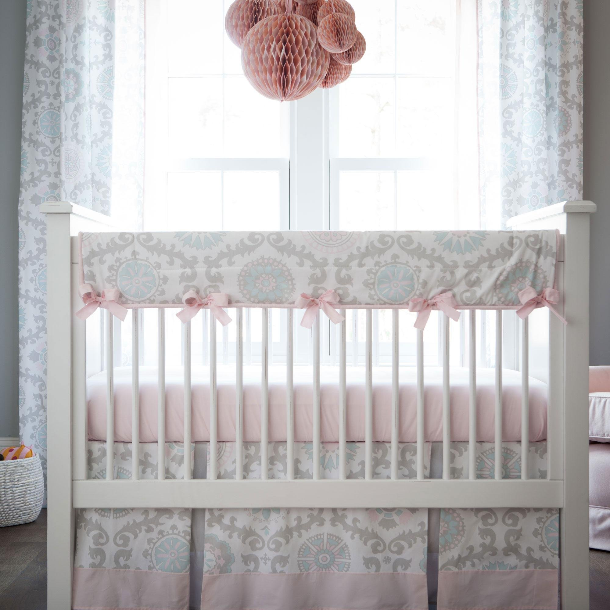 Carousel Designs Pink and Gray Rosa Crib Rail Cover