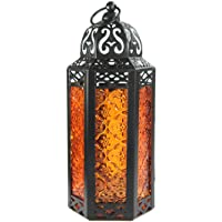 Vela Lanterns Moroccan Style Candle Lantern, Medium, Amber Glass