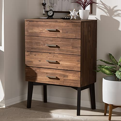 Baxton Studio Selena Mid-Century Modern Brown Wood 4-Drawer Chest/Mid-Century/Brown/Medium Wood/Acacia Wood/Rubber Wood/Metal