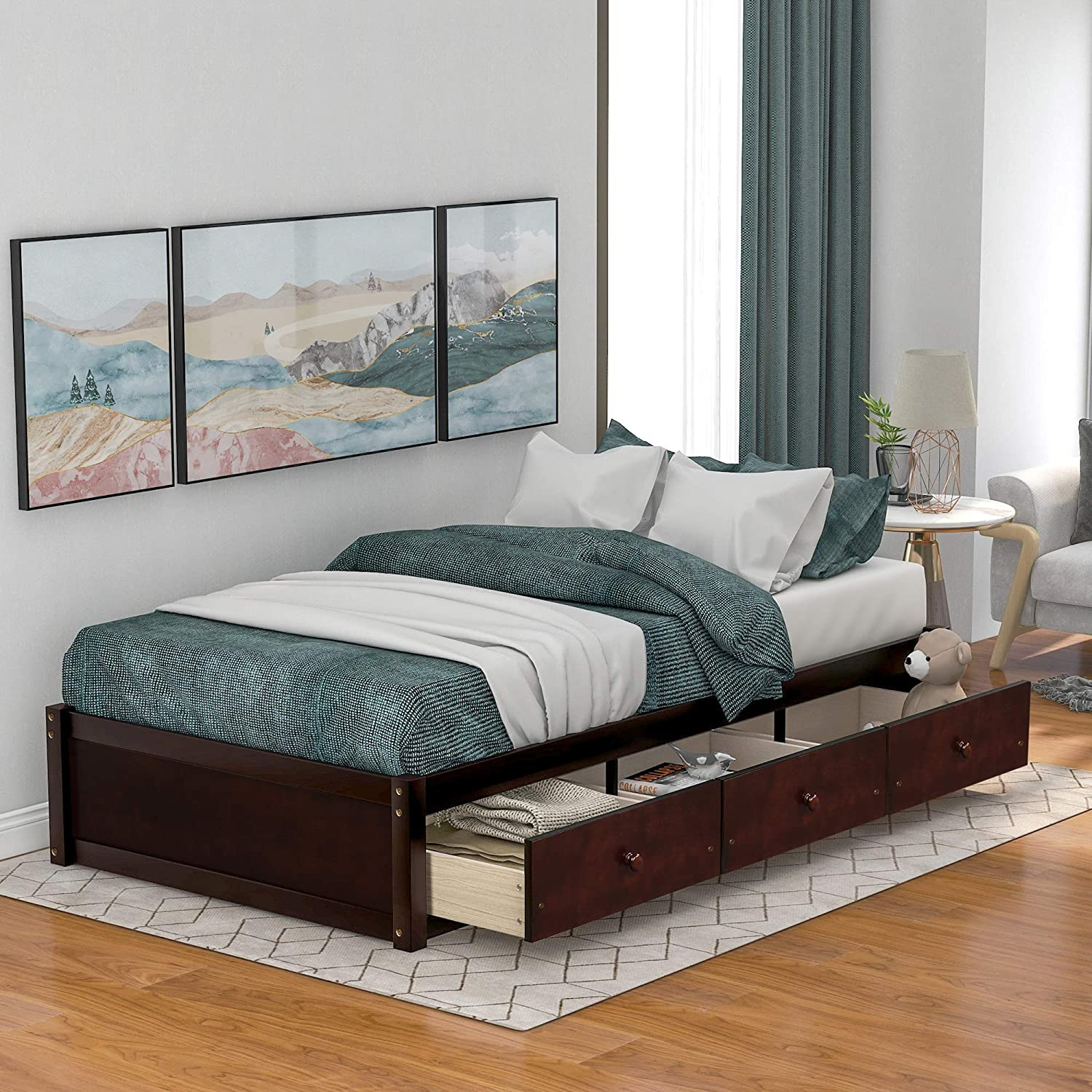 Hooseng Twin Size Platform Bed Frame with Three Drawers, Sturdy Wood Structure, Small Space & No Box Spring Needed, Brown Cherry