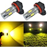 Alla Lighting 3200 Lumens Newest Version Yellow H11 LED Fog Lights Bulb High Power 3030 27-SMD Extremely Super Bright…