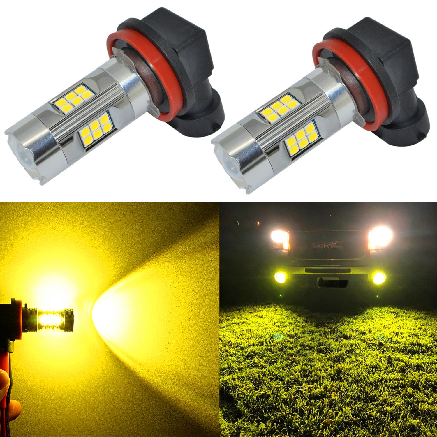 Alla Lighting 3200 Lumens Newest Version Yellow H11 LED Fog Lights Bulb High Power 3030 27-SMD Extremely Super Bright LED H11 Bulb for H16 H11 H8 LED Fog Light Bulbs, 3000K Gold Yellow (Set of 2)