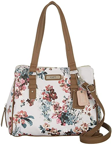 a6bf65915c Amazon.com  Rosetti Kaycee Floral Print Satchel Handbag One Size  White brown multi  Shoes