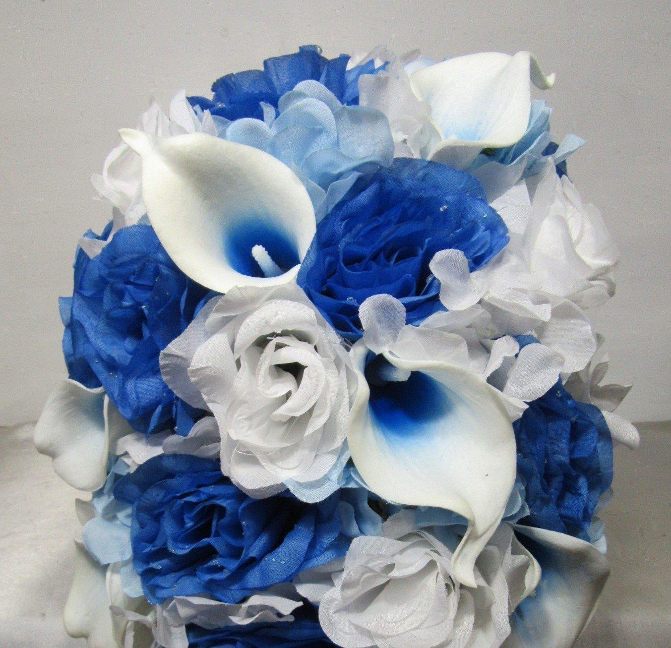 Malibu Blue Calla Lily Bridal Wedding Bouquet /& Boutonniere