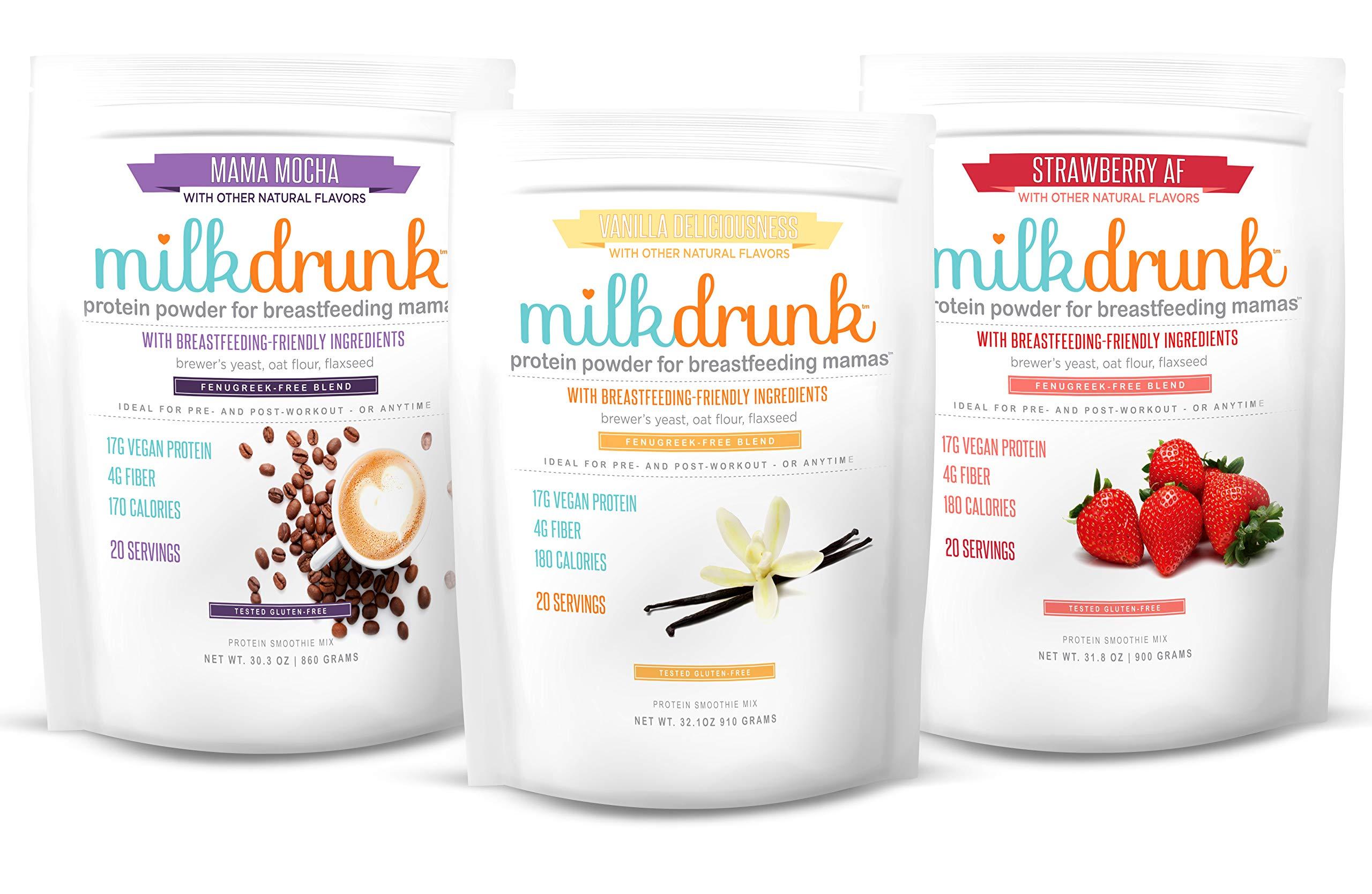 3 Bag Fenugreek-Free Variety Pack - Milk Drunk Protein Powder for Breastfeeding - 60 Servings Vegan Protein, Lactation-Boosting 17g Protein 4g Fiber 6g Sugar - Oat Flour, Flax, Brewer's Yeast by Milk Drunk (Image #1)