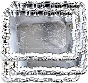 Maro Megastore (Pack of 4) 17.1-Inch x 14.2-Inch Rectangular Shape Chrome Plated Serving Deco Tray Floral Pattern Engraved Wedding Cake Party Food Buffet Dessert Snack Platter (Large) T191l-4pk