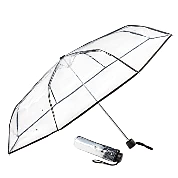 Clear Dome Umbrella Compact And Folding For Easy Travel Sturdy