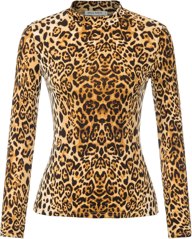 80s Tops, Shirts, T-shirts, Blouse GRACE KARIN Womens Basic Tops Print Turtleneck Tops Blouse Long Sleeve T-Shirt $14.99 AT vintagedancer.com