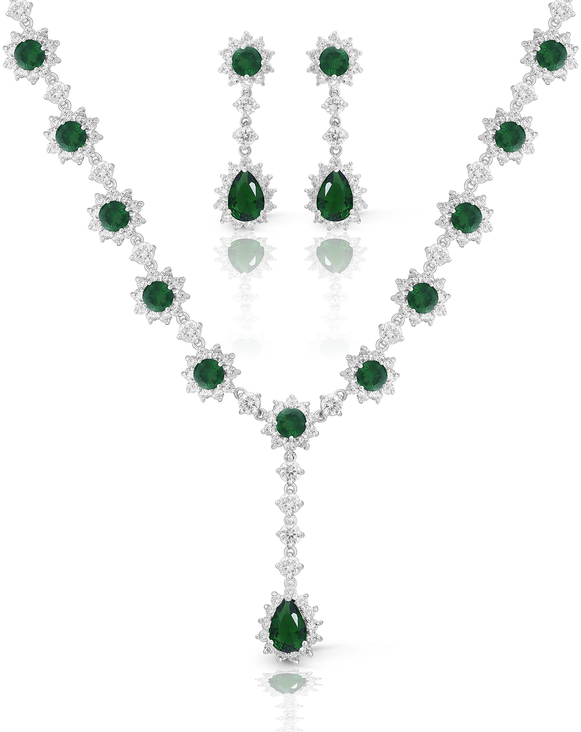 JanKuo Jewelry Rhodium Plated Crown Set Green Emerald Color Graduated Earrings Necklace Jewelry Set, 16''
