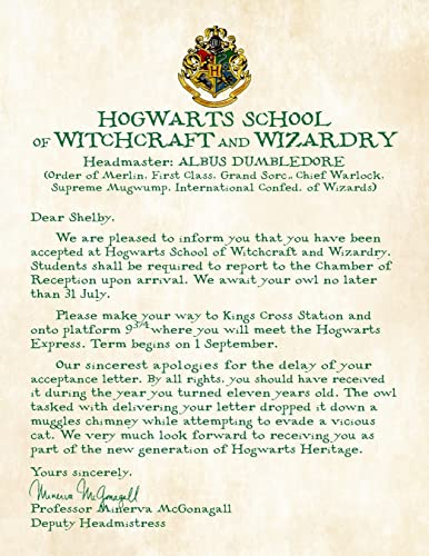 amazon com personalized harry potter acceptance letter with apology