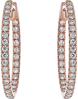 Diamond Fascination Oval Twist Hoop Earrings 31mm x 2mm Mia Diamonds 14k Yellow Gold 0.01cttw