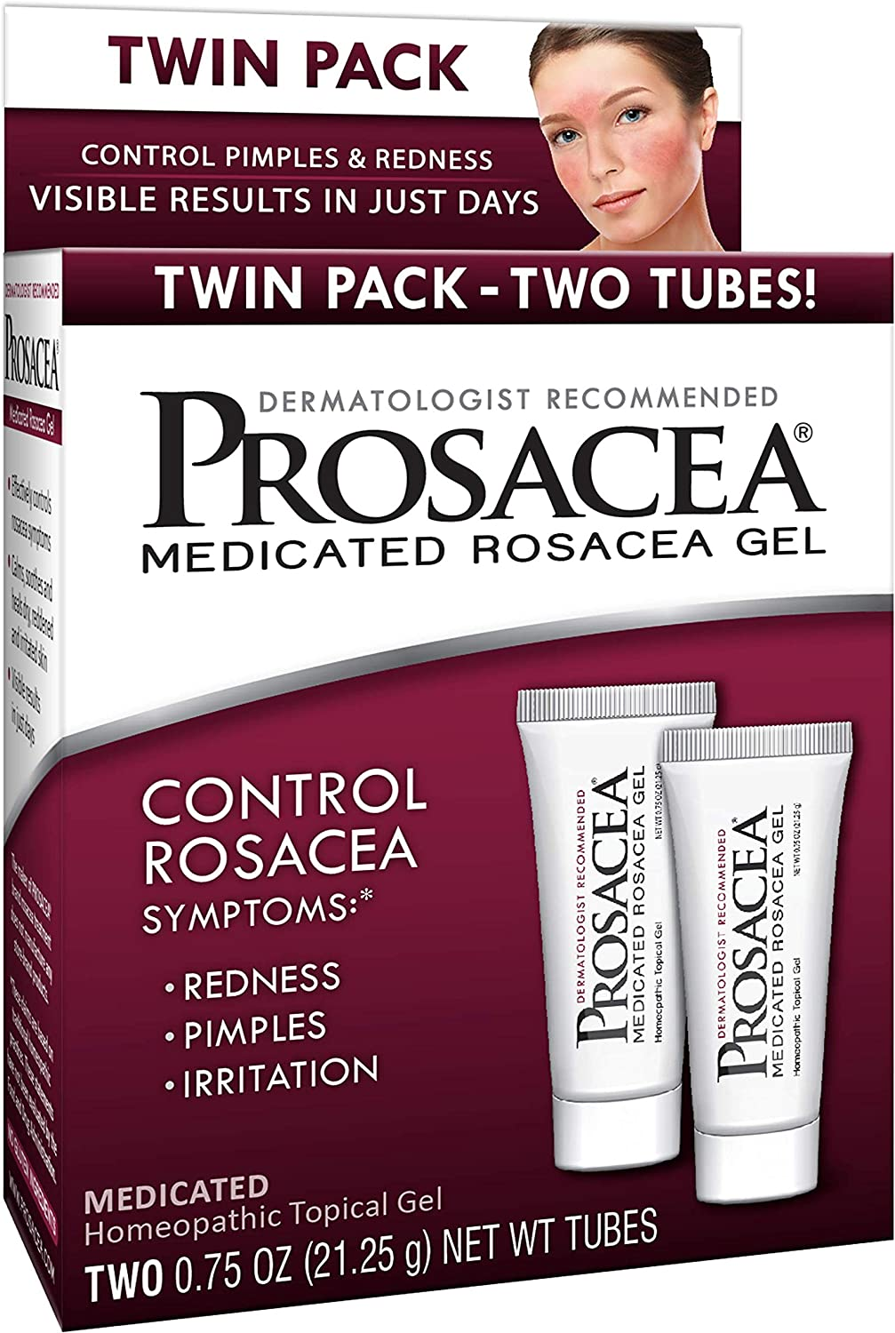 Prosacea Medicated Rosacea Gel - Controls Rosacea Symptoms of Redness, Pimples & Irritation - Twin Pack - Two 0.75oz Tubes (1.5oz Total)