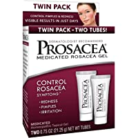 Prosacea Medicated Rosacea Gel - Controls Rosacea symptoms of Redness, Pimples & Irritation - Twin Pack - Two 0.75oz…