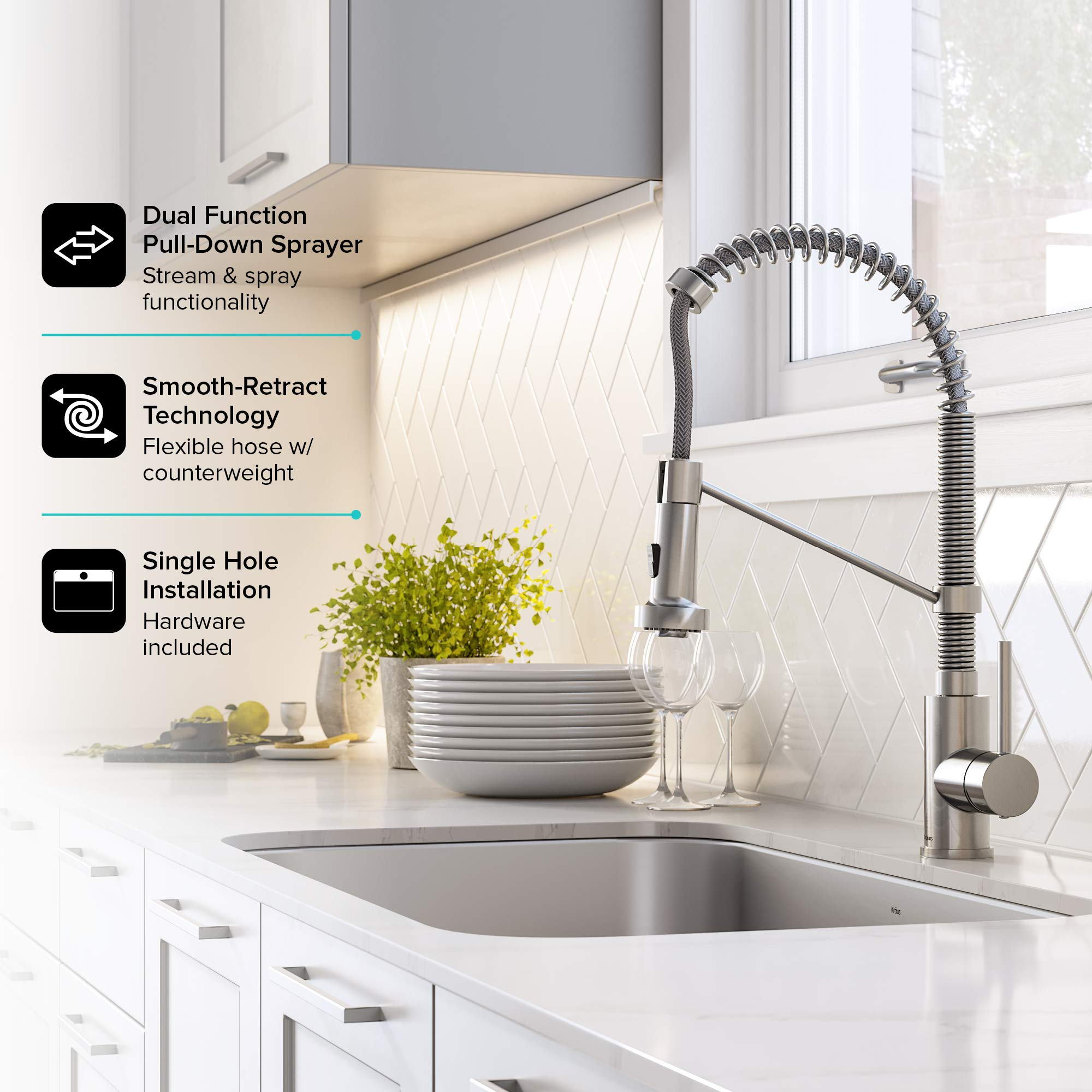 KRAUS KCA-1200 Ellis Kitchen Combo Set with 33-inch 16 Gauge Undermount Kitchen Sink and Bolden 18-inch Pull-Down Commercial Style Kitchen Faucet, Stainless Steel Finish by Kraus (Image #9)