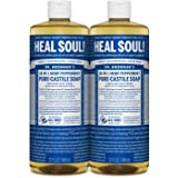 Dr. Bronner's - Pure-Castile Liquid Soap (Peppermint, 32 ounce, 2-Pack) - Made with Organic Oils, 18-in-1 Uses: Face, Body, H