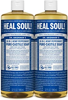 product image for Dr. Bronner's - Pure-Castile Liquid Soap (Peppermint, 32 ounce, 2-Pack) - Made with Organic Oils, 18-in-1 Uses: Face, Body, Hair, Laundry, Pets and Dishes, Concentrated, Vegan, Non-GMO
