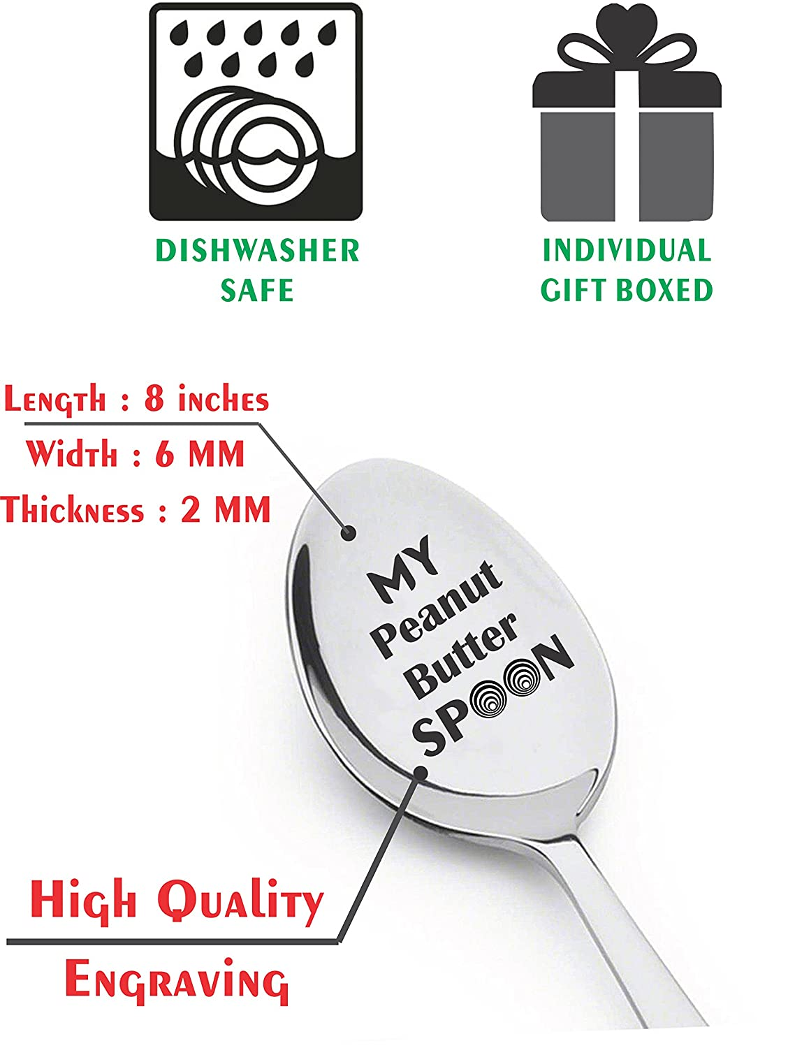 My Peanut Butter Spoon Engraved Stainless Steel Silverware Flatware Unique Birthday Easter Basket Gifts