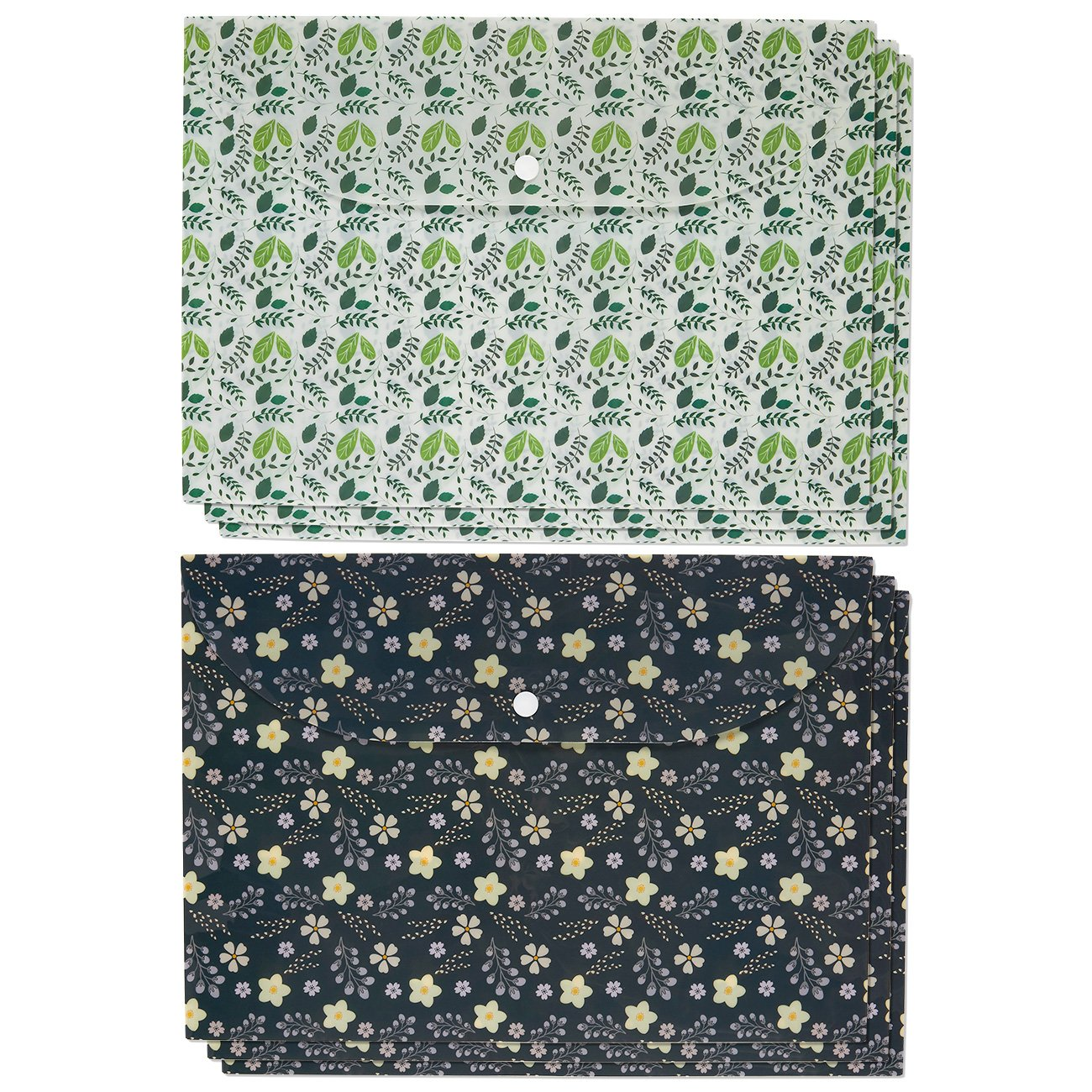 Designer File Folders - 6 Pack of Decorative A4 Letter Size Envelope Poly Folders with Snap Button in Vintage Leaves and Floral Patterns