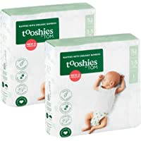Tooshies by TOM Size 1 Newborn Organic Bamboo Disposable Eco Nappies - 3-5kg, Size 1 52 count, Pack of 52