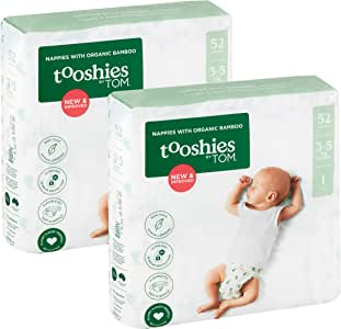 Tooshies by TOM Size 1 Newborn Organic Bamboo Disposable Eco Nappies - 3-5kg, Size 1, 104 count