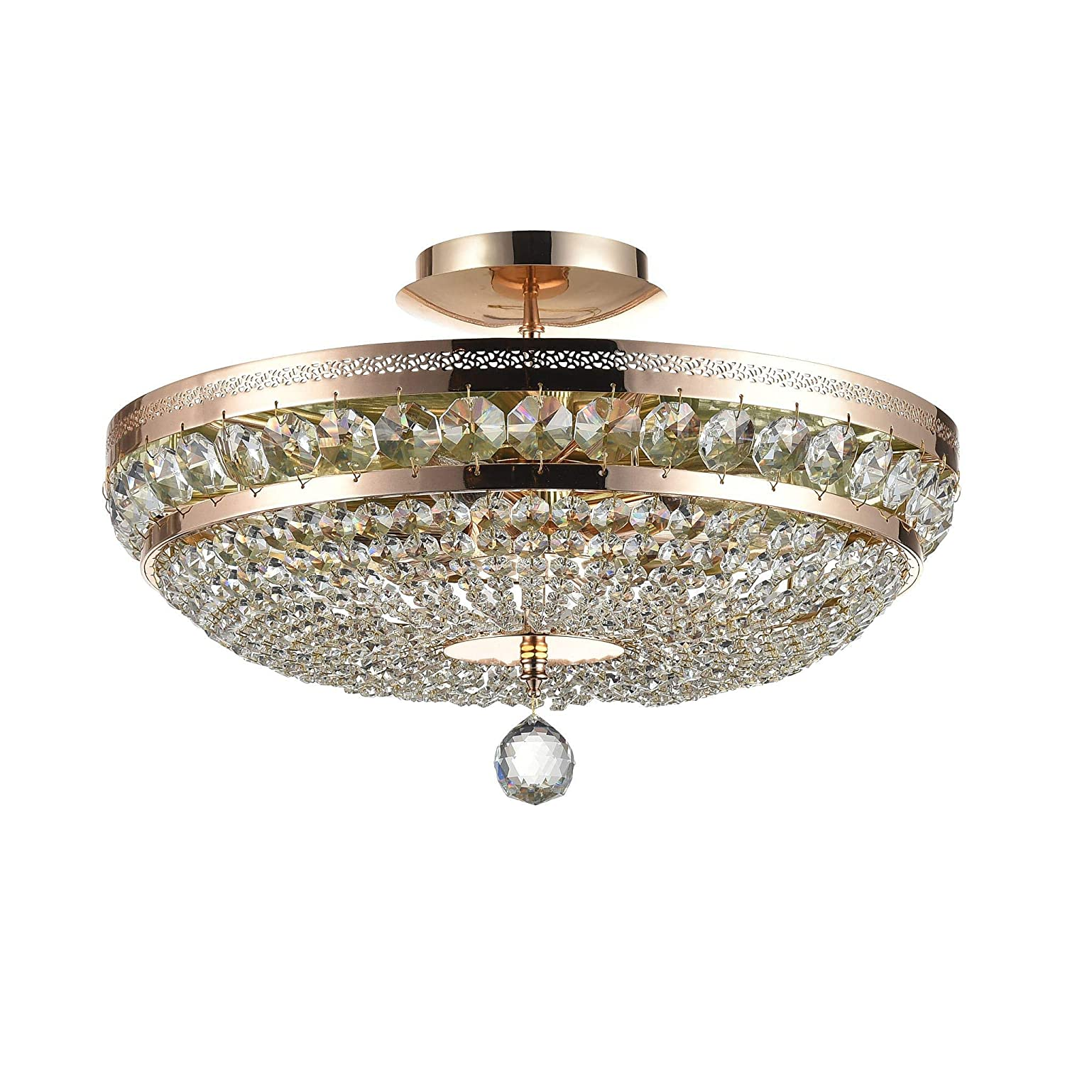 Lux style round crystal ceiling light golden metal colour cascade of clear crystals 6 bulbs excl e14 6x60w 220v energy class a