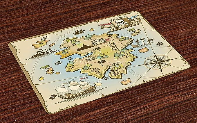 Esteras de mapa de la isla, dibujos animados Treasure Island, barco pirata, cofre, kraken, pulpo, diseño náutico, para niños, manteles de tela lavables para el comedor, mesa de cocina, juego de 6: