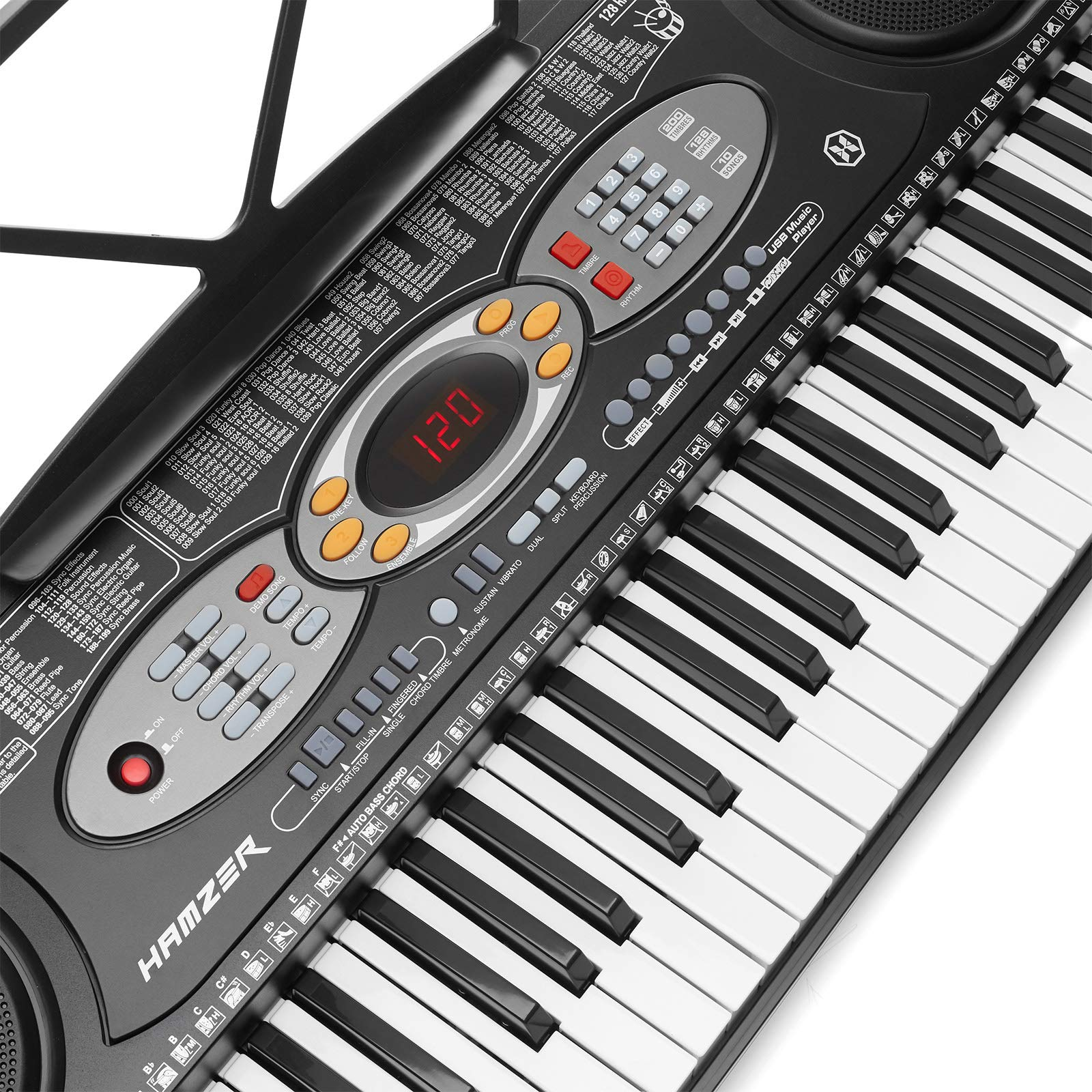 Hamzer 61-Key Electronic Keyboard Portable Digital Music Piano with H Stand, Stool, Headphones Microphone, Sticker Set by Hamzer (Image #4)