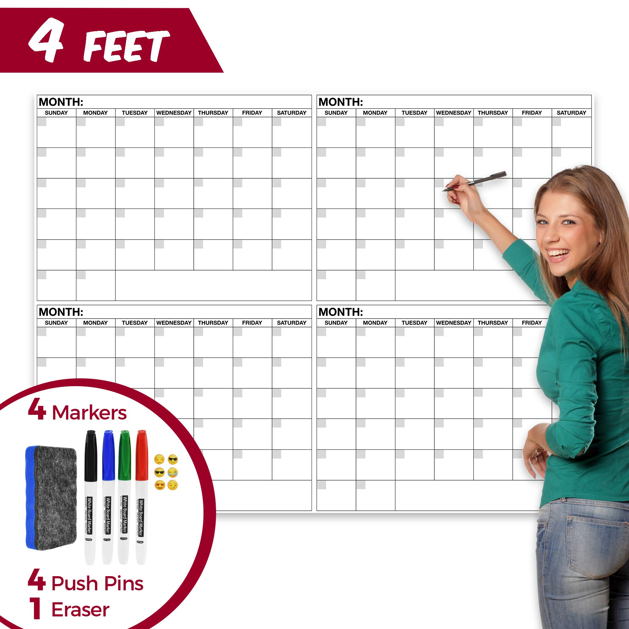 Large Dry Erase Wall Calendar - 36'' x 48'' Inch Reusable Double Sided Monthly & Weekly Planner - Deadline and Task Organizer for Home, Dorm, Office & Classroom Decoration - with Markers, Tacks & Eraser