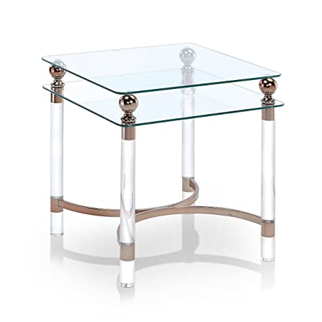 Amazoncom Furniture Of America Angela Contemporary GlassGold End - Angela coffee table
