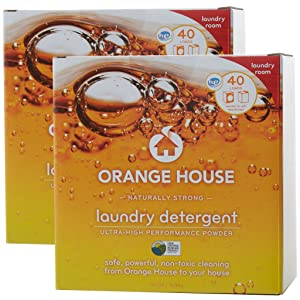 Orange House Powder Laundry Detergent, Non-Toxic and Naturally Powerful, 40 Loads (Pack of 2)