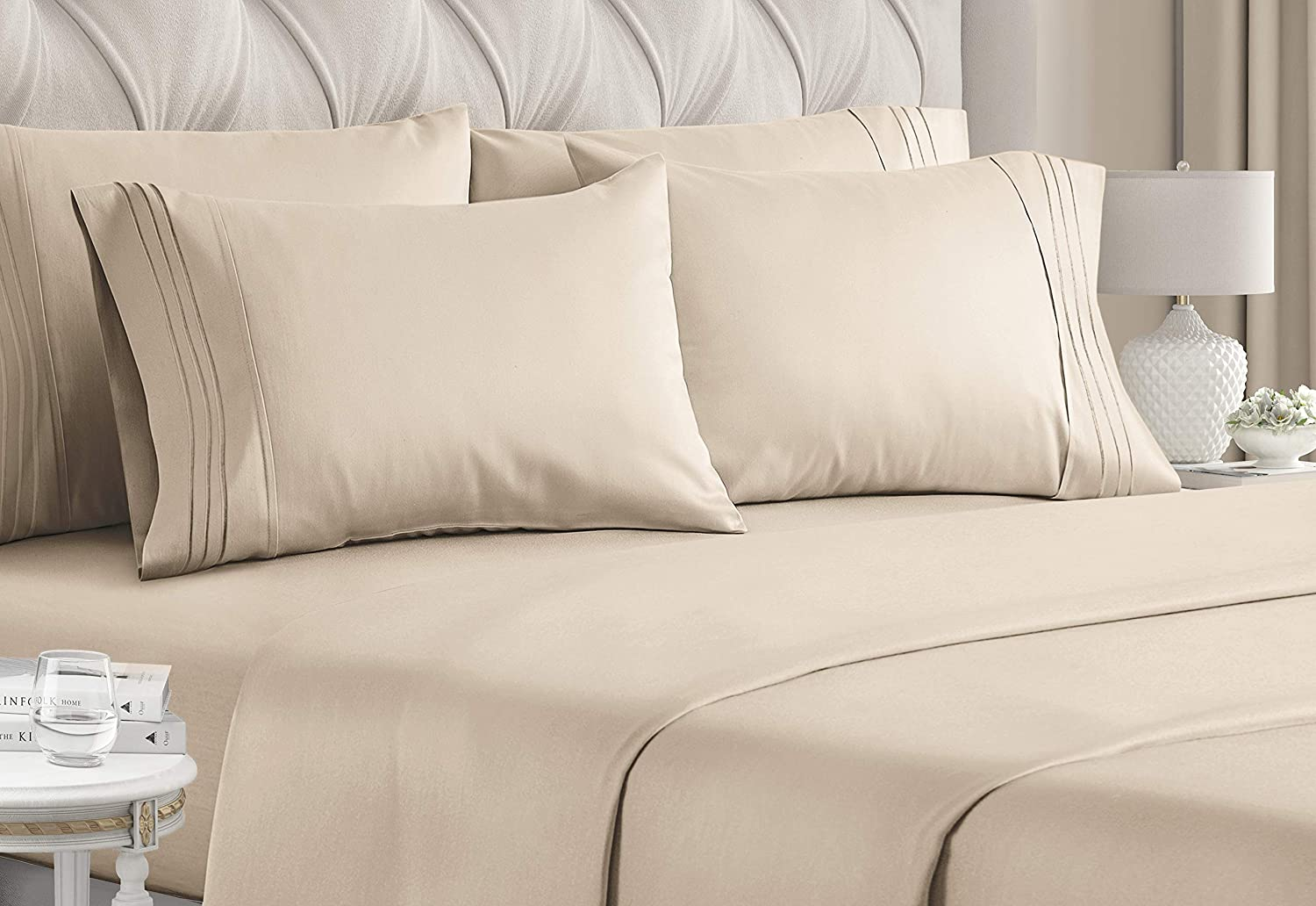 Full Size Sheet Set - 6 Piece Set - Hotel Luxury Bed Sheets - Extra Soft - Deep Pockets - Easy Fit - Breathable & Cooling Sheets - Wrinkle Free - Comfy - Cream Bed Sheets - Fulls Sheets - 6 PC