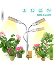 【2019 New Version】 SEZAC 132 LED Grow Lights Sunlike, 3-Head 360 Degree Gooseneck Plant Light, 68W Full Spectrum Led Grow Light with Auto ON/Off Timer, Adjustable Brightness for Indoor Plants