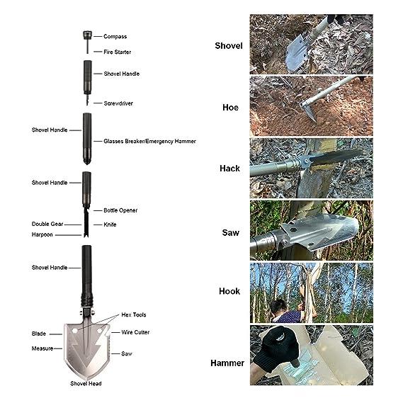 xrdy Pala plegable multifunción acero inoxidable Pala supervivencia - Pala Pala Militar Desmontable Shovel para jardín Mochila de acampada senderismo pesca ...